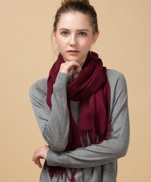 wine red 100 Cashmere Scarf