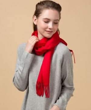 red 100 Cashmere Scarf