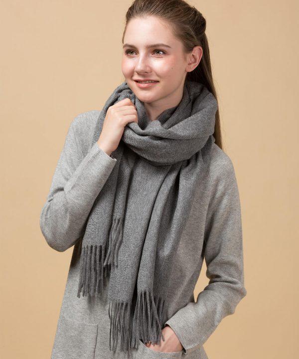 Grey Cashmere Scarf Womens