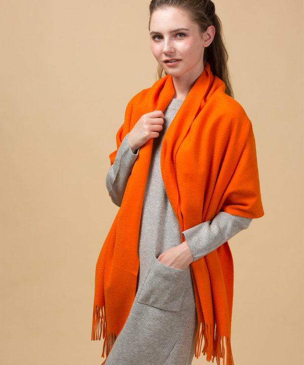 orange cashmere scarf womens