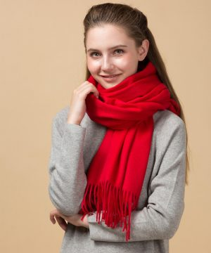 red cashmere scarf womens