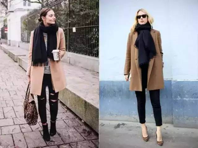 Cashmere scarf with cashmere coat